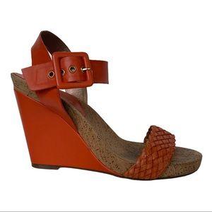 BCBGeneration Orange Leather and Cork Wedge Heel